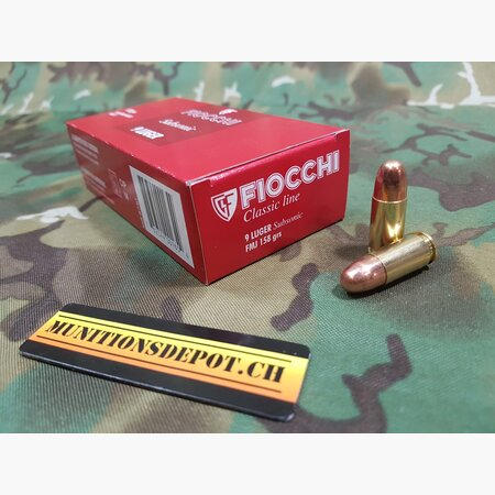 Fiocchi 9mm Para Subsonic 158grs FMJ; 50 Stk