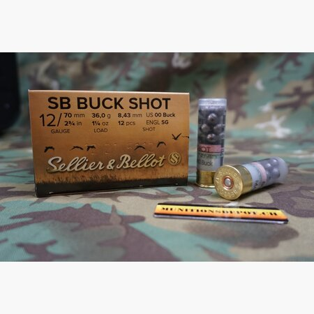 Sellier & Bellot 12/70 8,4mm 00 Buck Shot 36g; 25 Stk
