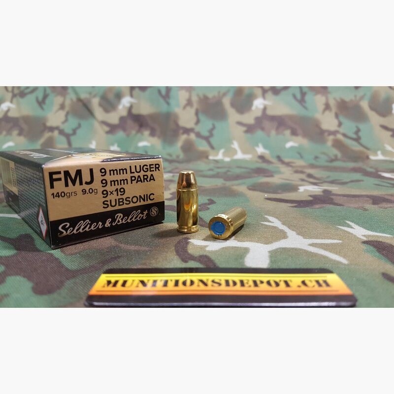 Sellier & Bellot 9mm Para Subsonic 140grs FMJ